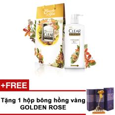 Bộ quà tặng gồm túi quà họa tiết hoa dầu gội Clear thảo dược 650g + Tặng bông hồng Golden Rose