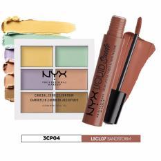 Nơi mua Bộ sản phẩm kem che khuyết điểm, tạo khối NYX Professional Makeup Conceal Correct Contour Palette 3CP04 và son kem lì nude cát LSCL07 Sandstorm