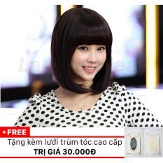 Bộ tóc giả ngắn mái ngang Hàn Quốc HQ121 (Nâu vàng) + Tặng kèm lưới trùm tóc cao cấp trị giá 30.000đ