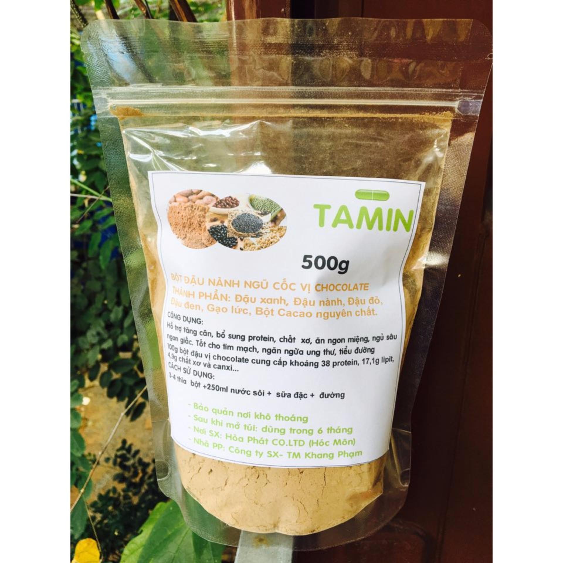 Bột ngũ cốc nguyên chất vị Socola ( 5 loại đậu + bột cacao) Tăng Cân TAMIN 1kg + TẶNG KÈM MUỖNG MÚC BỘT ĐẬU