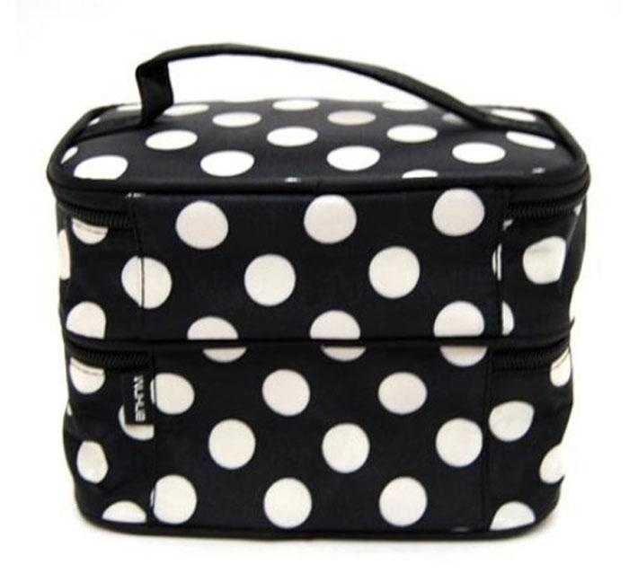 "Hình ảnh BPFAIR Lady""s Wave Dot Case Makeup Double Cosmetic Hand Bag Black White - intl"