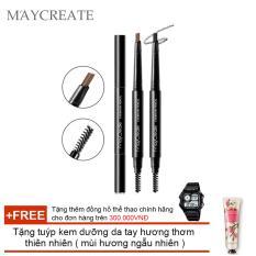 Bút chì lông mày MAYCREATE 2 trong 1 ( Nâu 03 ) + Tặng tuýp kem dưỡng da tay hương thơm thiên nhiên ( mùi hương ngẫu nhiên )