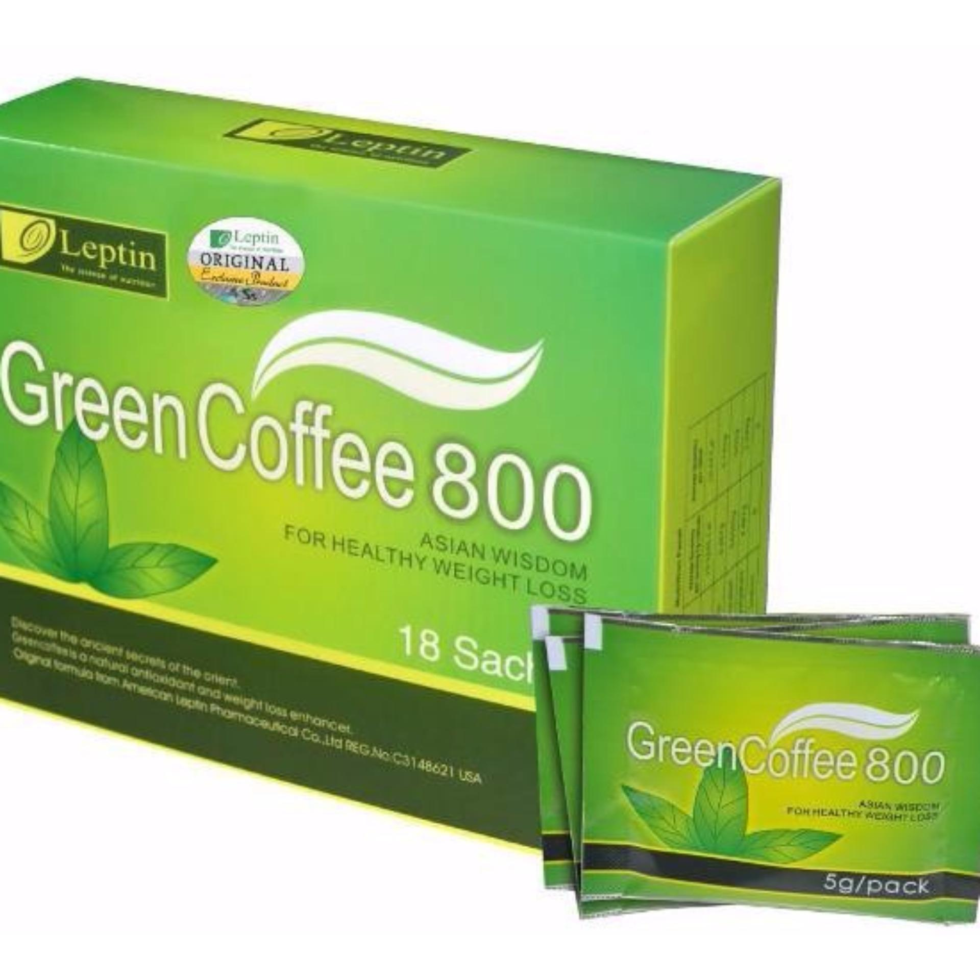 Cafe xanh giảm cân, tan mỡ bụng mỡ đùi GREEN COFFEE 800 Mỹ