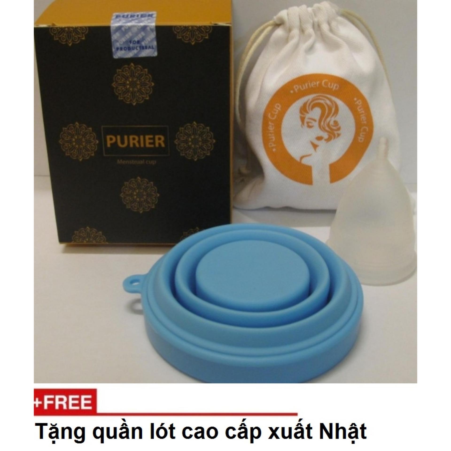 Cốc nguyệt san PURIER + cốc tiệt trùng + túi đựng