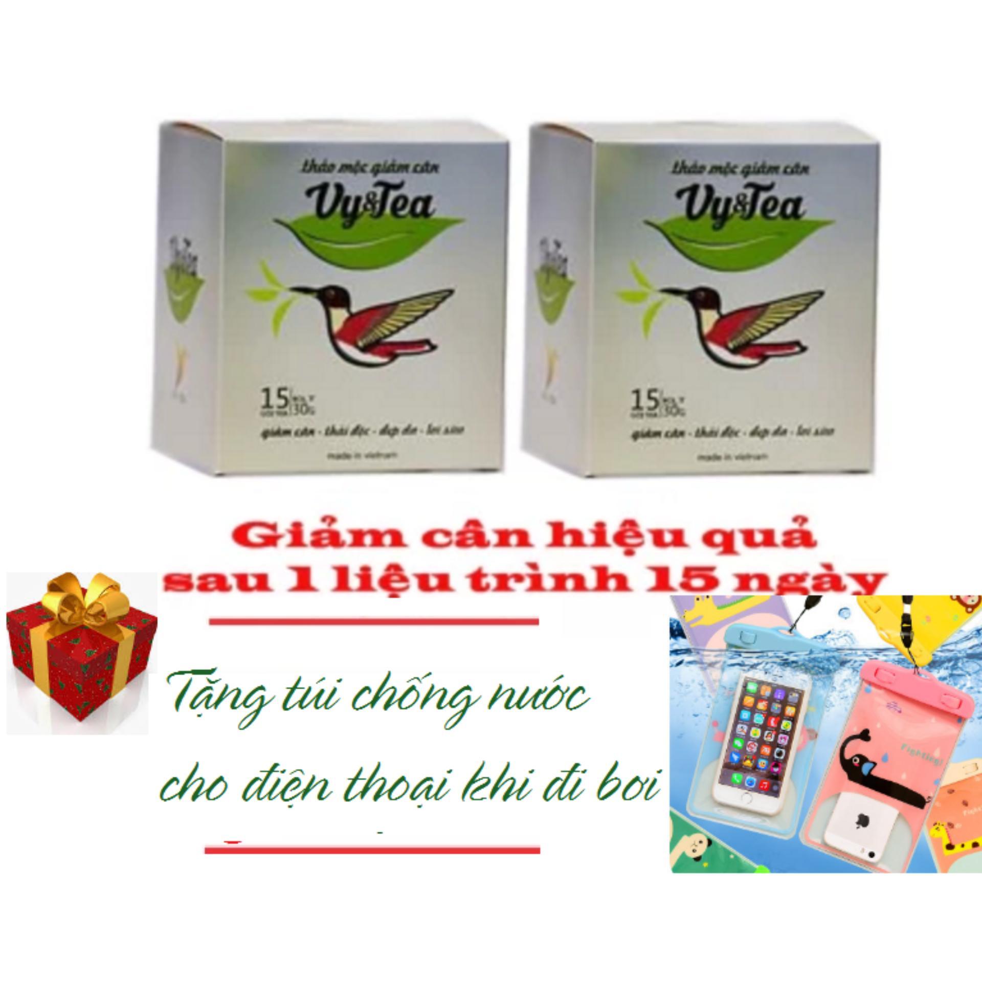 Combo 2 hộp Trà thảo mộc giảm cân Vy & Tea – HÀNG CHÍNH HÃNG – Tặng Túi Chống Nước Cho Điện Thoại Khi Đi Bơi