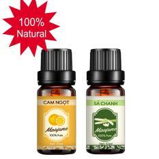 Combo 2 tinh dầu thiên nhiên Maujune cam ngọt 10ml và sả chanh 10ml