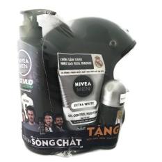 Combo dầu gội 530ml, sửa rửa mặt 100g, lăn khử mùi 50ml & mũ bảo hiểm NIVEA Men