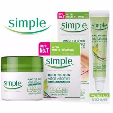 Combo Lăn dưỡng mắt Simple Kind To Eyes Revitalising Eye Roll-On 15ml + Kem dưỡng ẩm Cho Da Ban Đêm Simple Kind To Skin Vital Vitamin Night 50ml