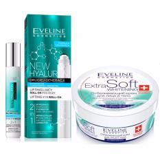 Combo Lăn Xóa Nhăn Trẻ Hóa Vùng Da Mắt Eveline New Hyaluron 15ml + Kem dưỡng trắng da mặt và toàn thân Eveline Extra Soft Whitening 200ml