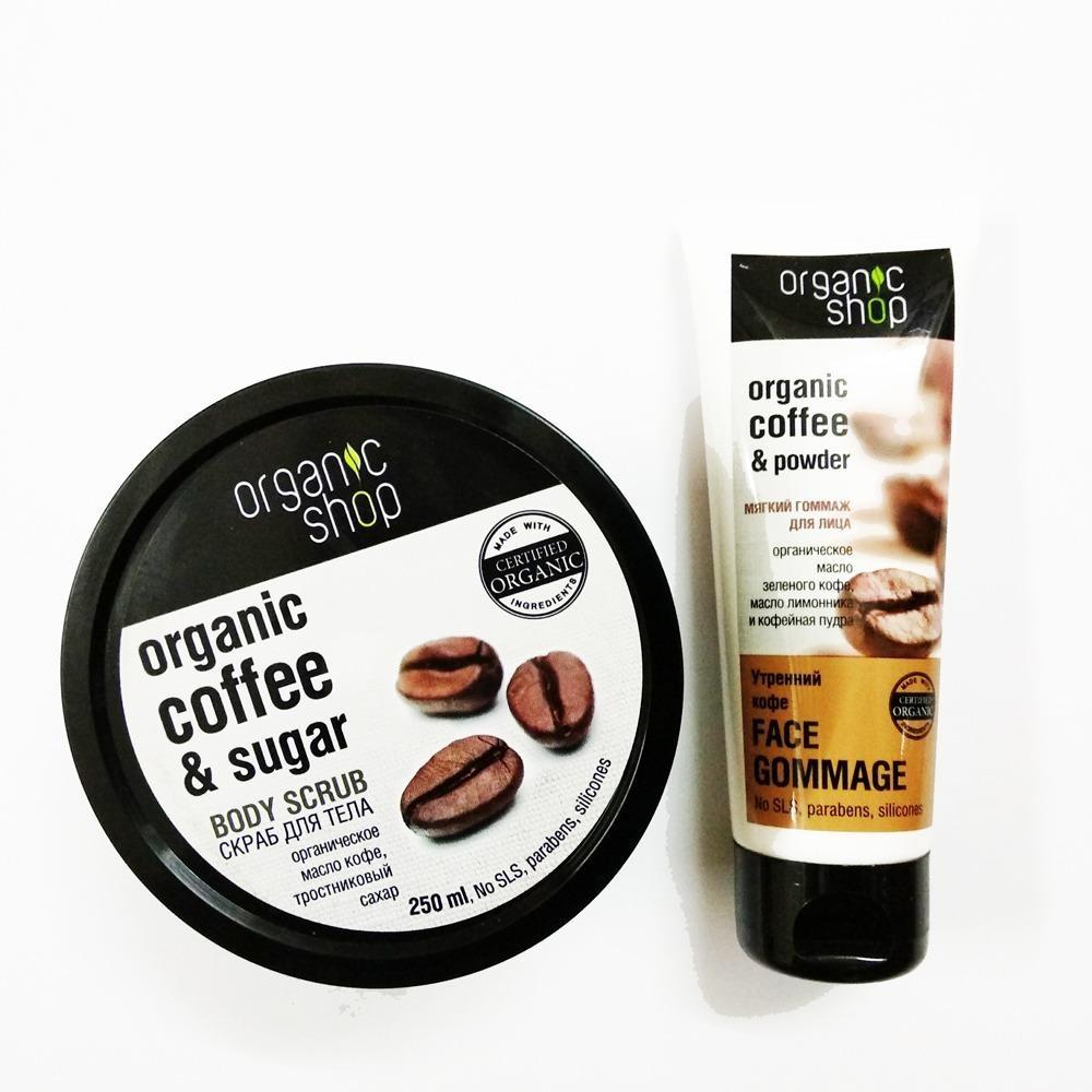 Combo tẩy da chết mặt và toàn thân mùi Cafe Organic Shop