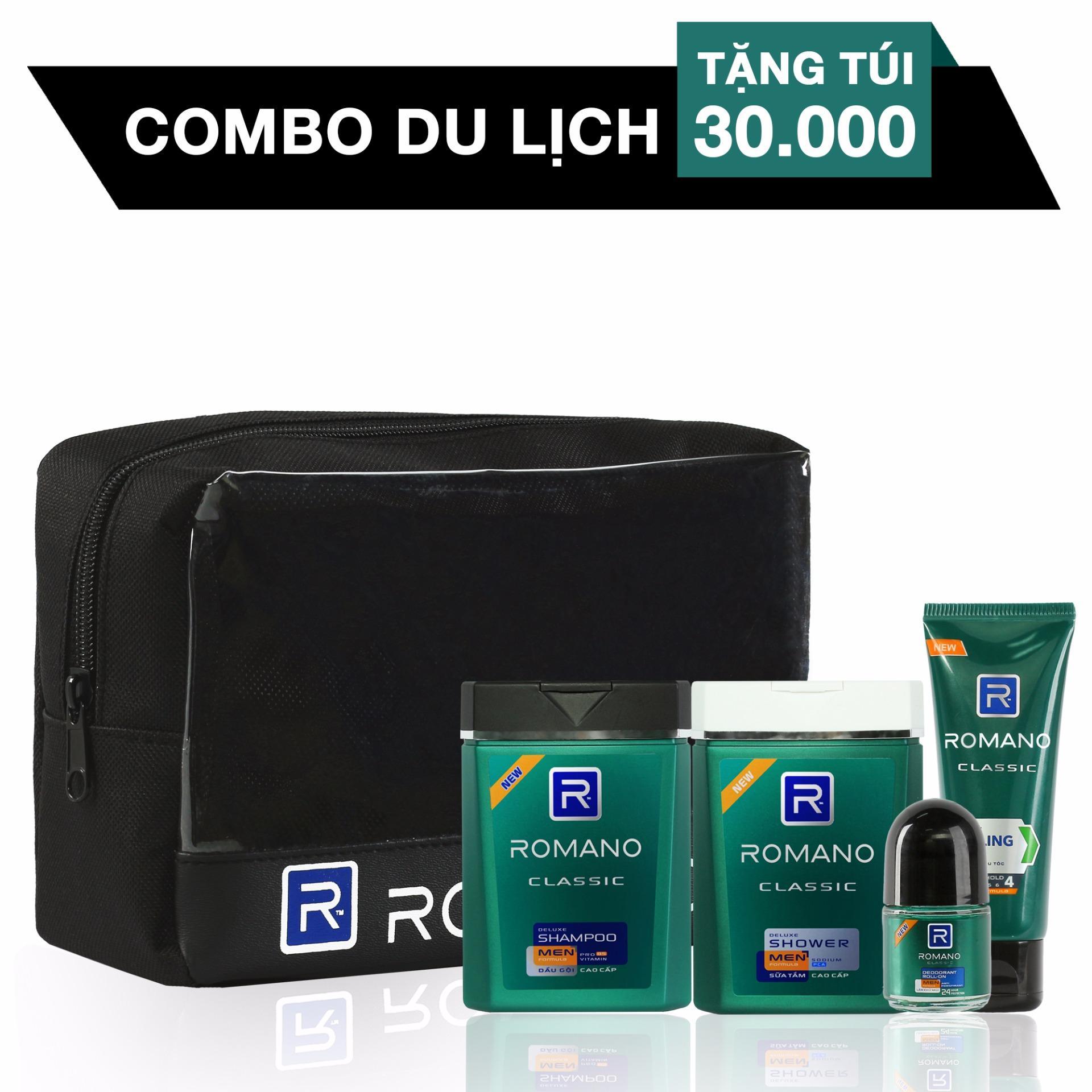 Giảm giá Combo Travel Kit Romano Classic: Dầu Gội 100g + Sữa tắm 100g + Gel tạo kiểu tóc 50g + Lăn khử mùi 20ml (tặng kèm túi Du Lịch Tiện Lợi)