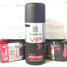 Combo Xịt Khử Mùi Romano Vip 150ml + dây gội Vip (14 gói)