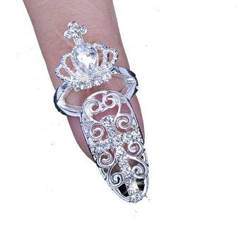 Cyber Bowknot Crystal Finger Jewelry Fake Nail Art Finger Rings(Intl) - intl