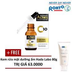 Dung dịch Vitamin C dưỡng da Acnes C10 15ml – Tặng 1 Kem rửa mặt dưỡng ẩm Hada Labo Advanced Nourish Cleanser 80g
