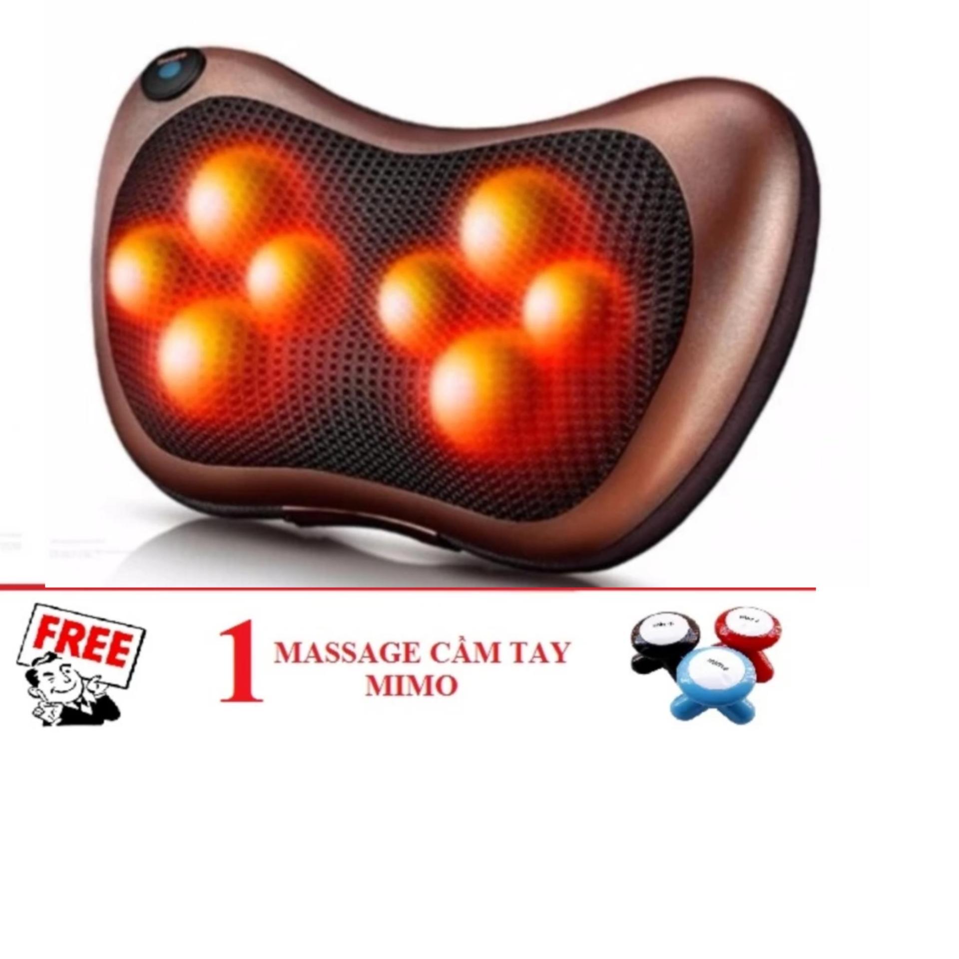 Gối Massage Hồng Ngoại 8 Bi đảo chiều (Nâu đỏ) + Tặng 1 máy massage cầm tay MIMO