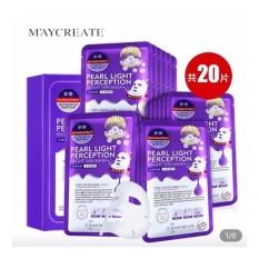 Hộp 20 miếng mặt nạ dưỡng trắng, làm mờ vết thâm HA Maycreate Pearl Light Perception Light Mask 23ml x 20