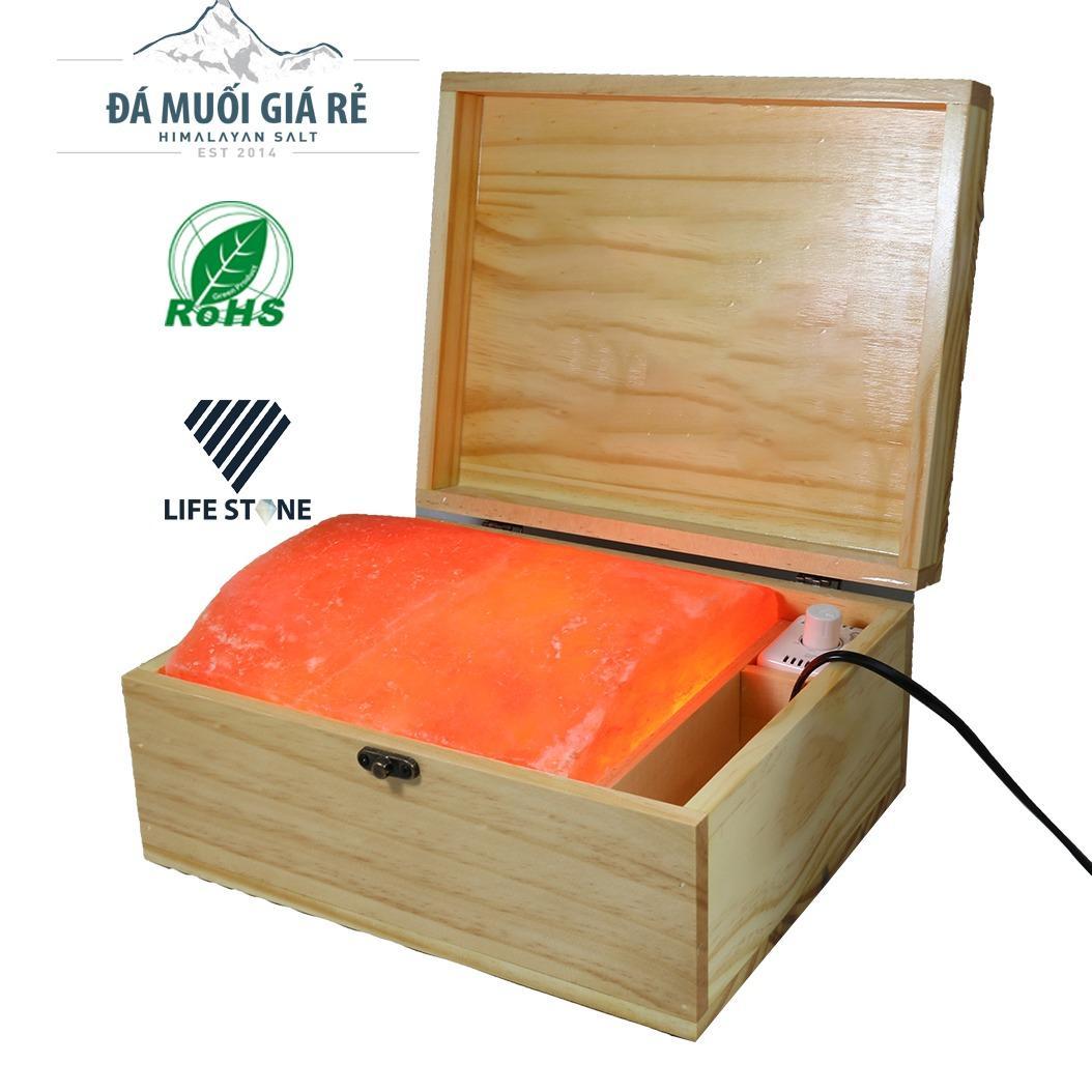 Hộp đèn đá muối Himalaya mặt cong massage chân nhập khẩu trực tiếp (Loại 1)