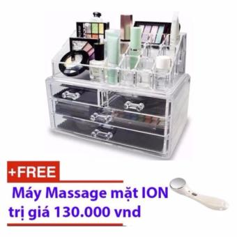 Kệ đựng mỹ phẩm mica 4 tầng + tặng máy massage mặt ION