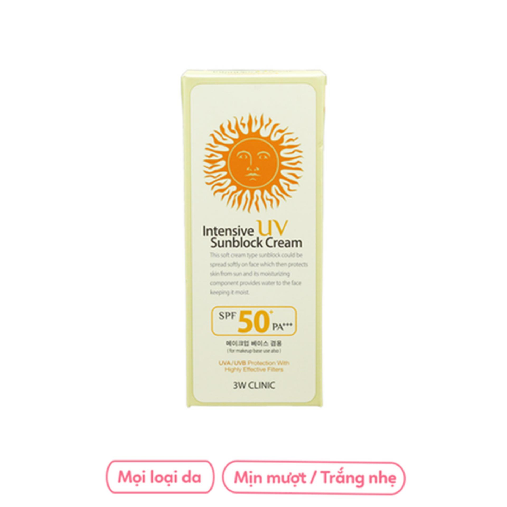 Kem chống nắng 3W Clinic Intensive UV Sunblock Cream SPF 50+ PA+++