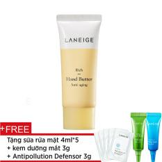 Kem dưỡng da tay ngăn ngừa lão hoá Laneige Rich Hand Butter 40ml + Tặng kem dưỡng mắt 3g + Tinh chất chống ô nhiễm 3ml + Sữa rửa mặt 4ml x 5