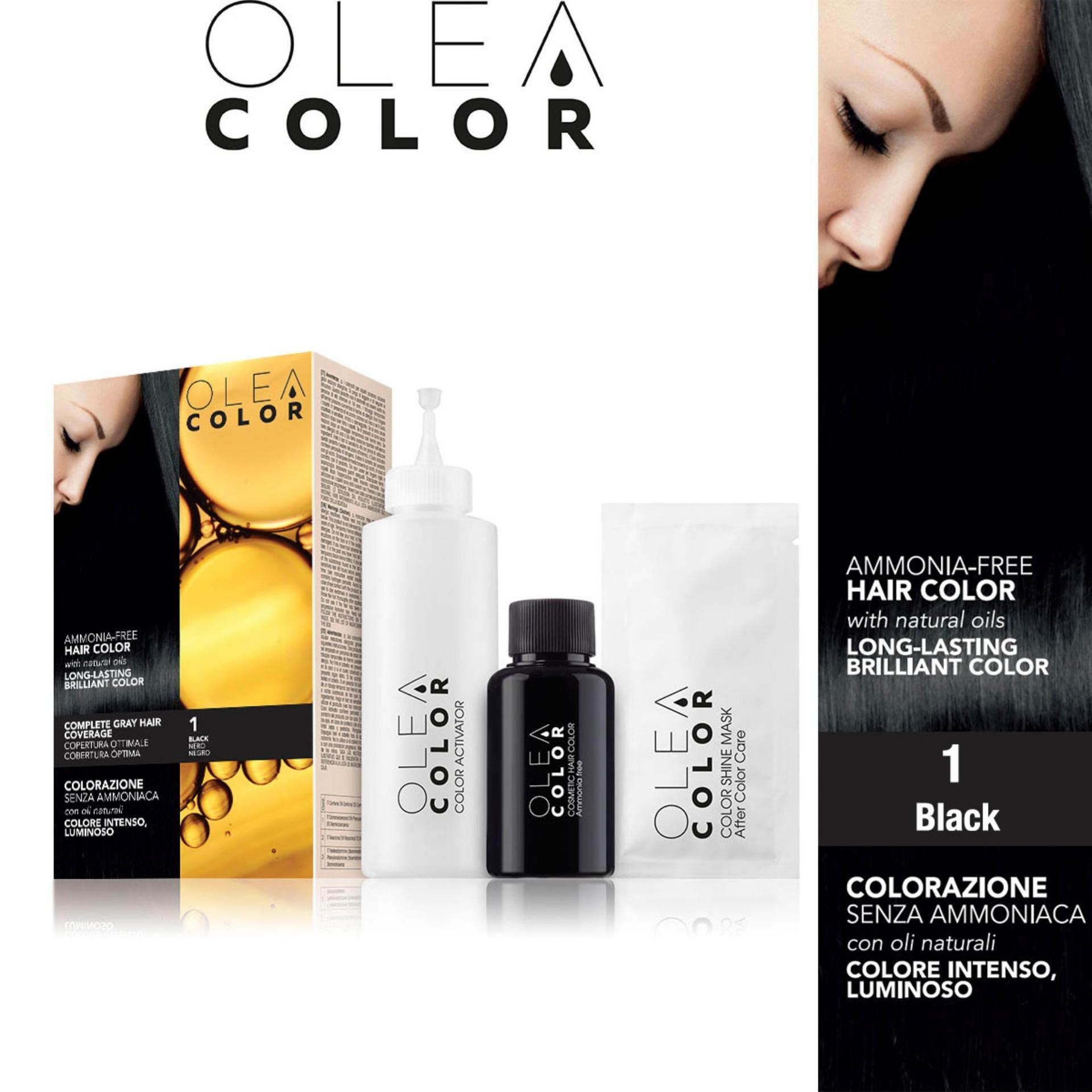 Thuốc nhuộm tóc không Amoniac Olea Color ITALY màu 1 Black – Phủ bạc