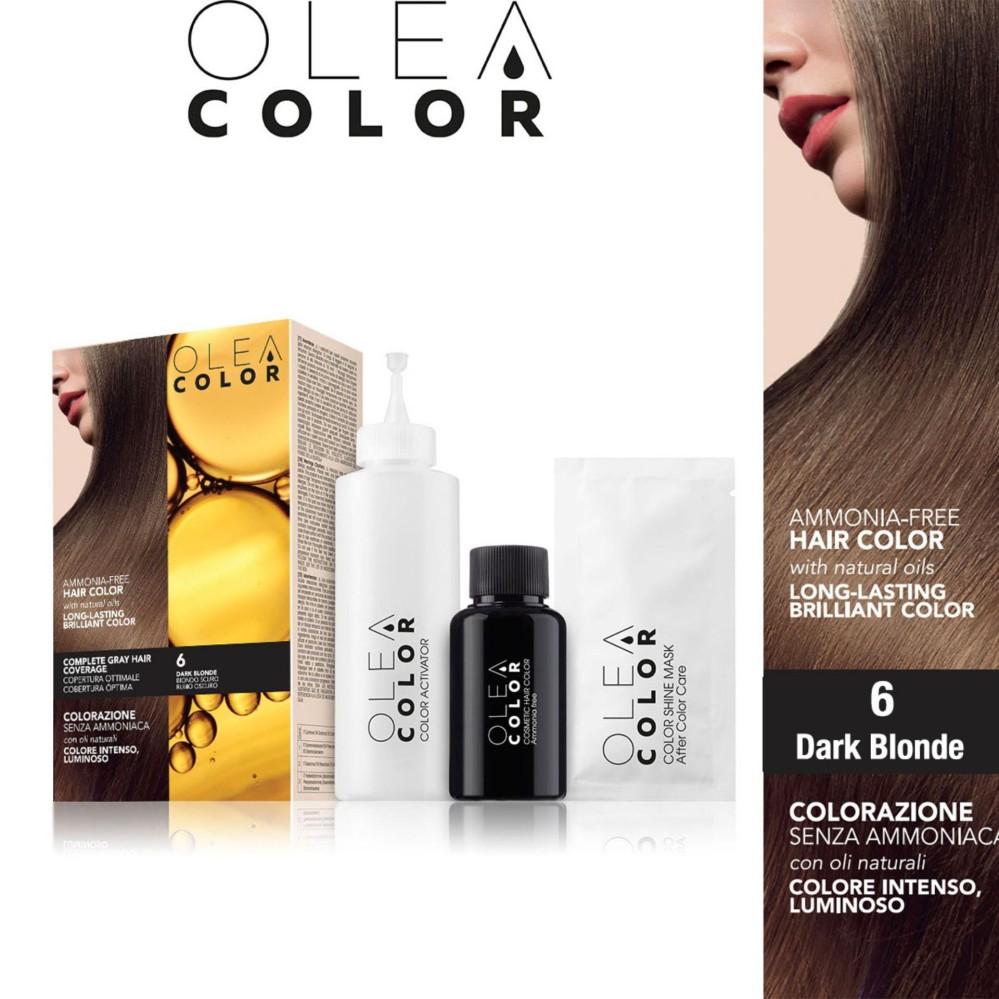 Thuoc nhuom toc không Amoniac Olea Color ITALY màu 6 Dark Blonde