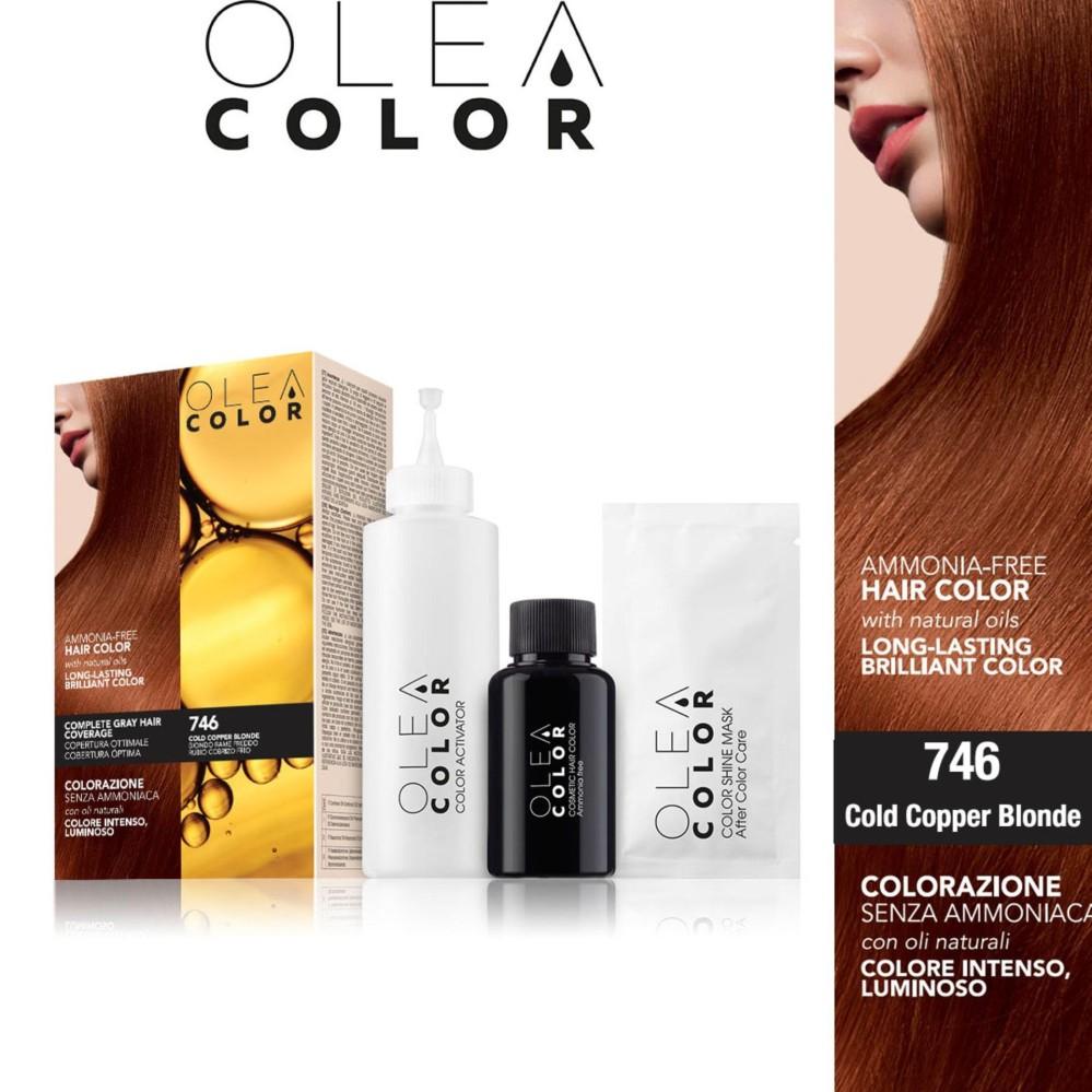 Nhuộm tóc không Amoniac OleaColor ITALY màu 746 Cold Copper Blonde
