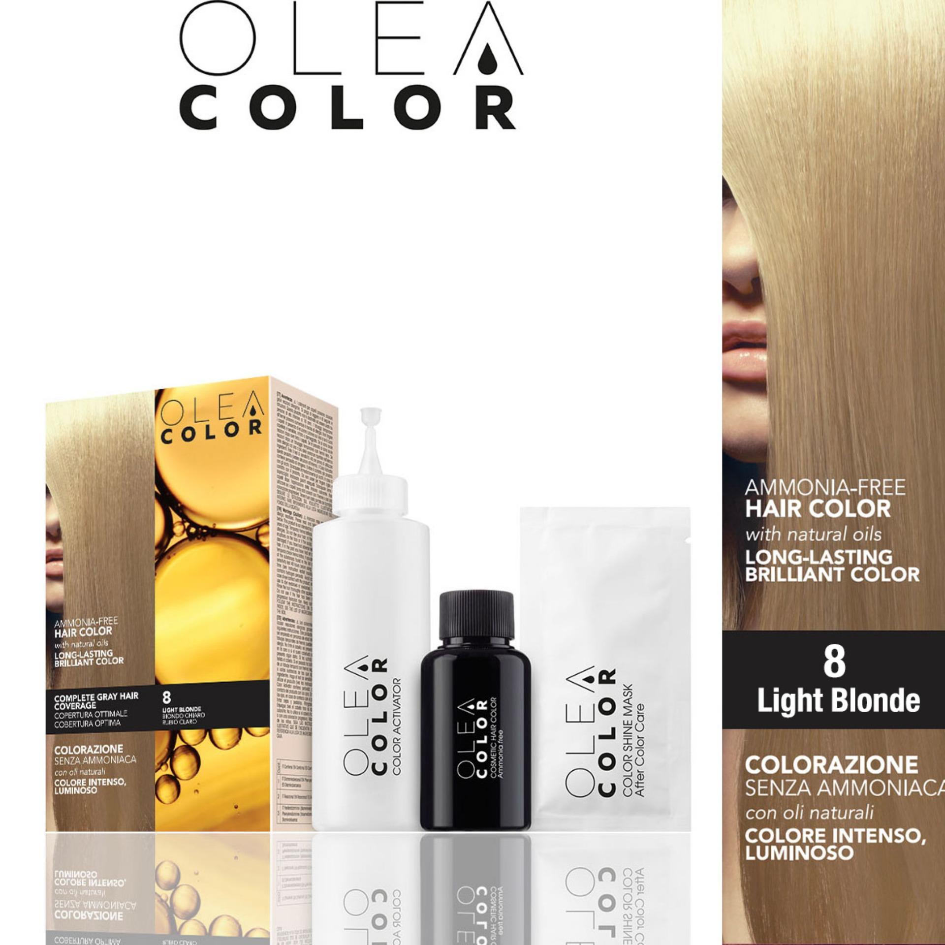 Kem nhuộm dưỡng tóc không Amoniac Olea Color ITALY màu 8 Light Blonde