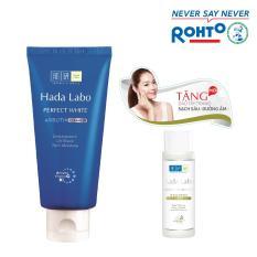 Kem rửa mặt dưỡng trắng Hada Labo Perfect White Cleanser 80g + Tặng Dầu tẩy trang Hada Labo 40ml