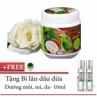 Kem xả Dầu Dừa siêu mềm mượt 500g + Tặng Bi lăn dầu dừa dưỡng môi, mi, da 10ml