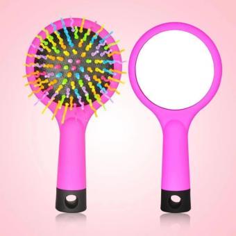 Lược chải tóc có gương Rainbow Volume S Brush ( màu hồng )