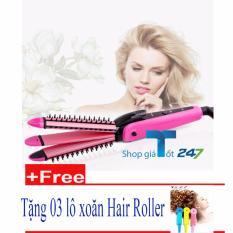 Lược điện tạo kiểu 3 in 1 xoăn,là, xù + Tặng 03 lô tóc hair roller