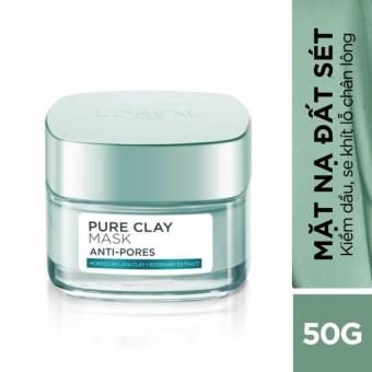 Mặt nạ đất sét kiềm dầu se mịn lỗ chân lông L'Oreal Paris Pure Clay mask Anti pores