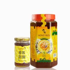 Mật Ong Thiên Nhiên 5 Sạch Honeyboy 1kg và Mật Ong Sữa Chúa Honeyboy 100ml