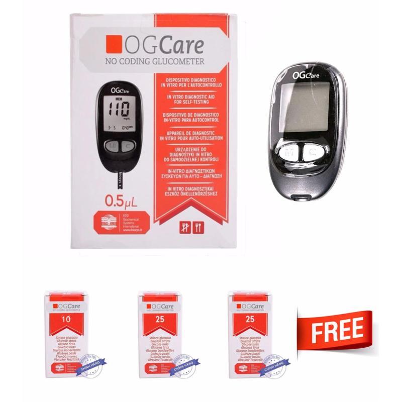 Nơi bán Máy đo đường huyết Ogcare của Ý + Tặng kèm 3 hộp 60 que thử