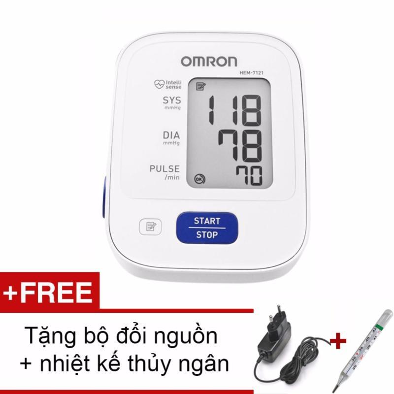 Nơi bán Máy đo huyết áp bắp tay Nhật bản Omron HEM-7121 BH 5 Năm + Tặng bộ đổi nguồn và nhiệt kế thủy ngân