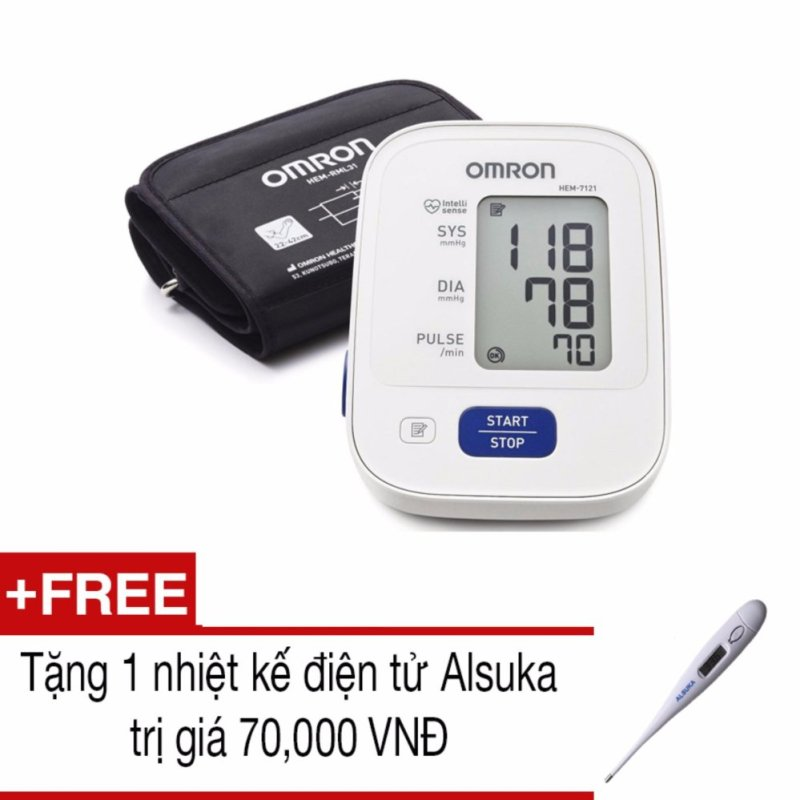 Nơi bán Máy đo huyết áp bắp tay Omron HEM-7121 (Trắng xám)+Tặng 1 nhiệt kế Alsuka