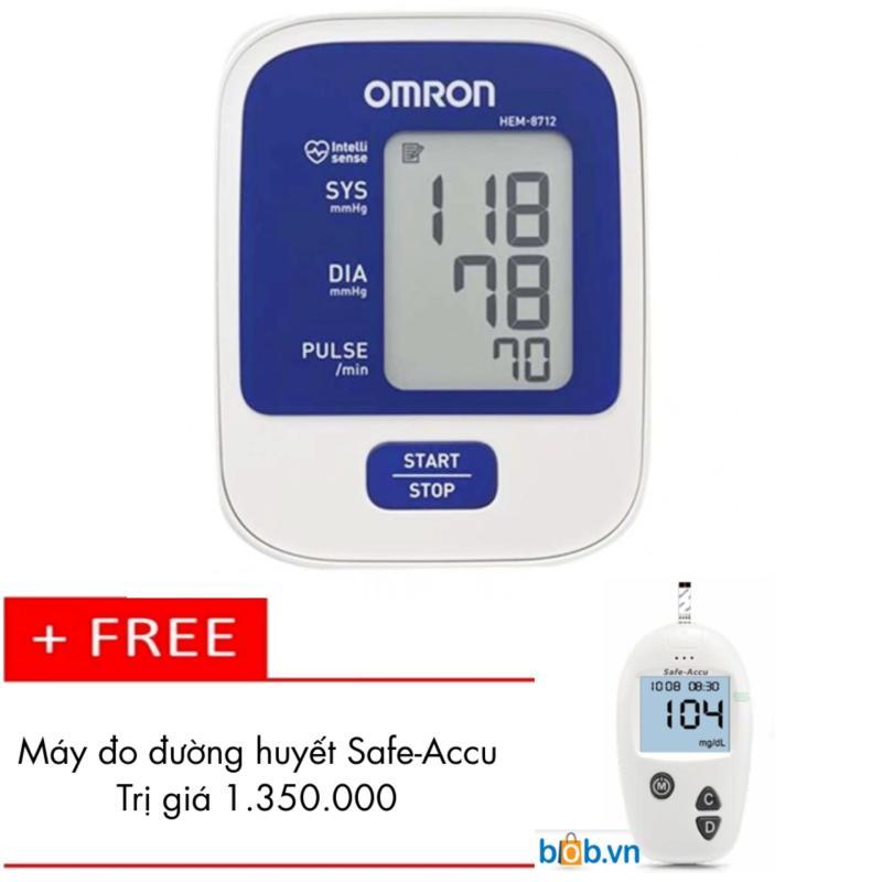 Nơi bán Máy đo huyết áp bắp tay Omron HEM-8712 (Trắng phối xanh) + Tặng Máy đo đường huyết Safe-Accu