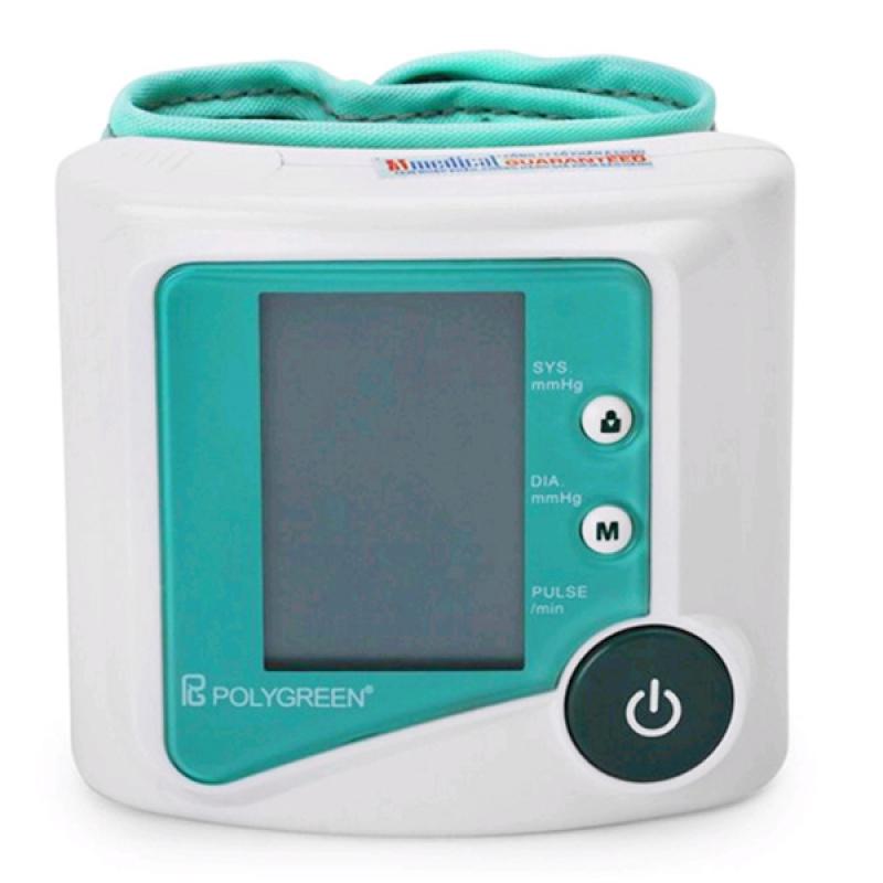 Nơi bán Máy đo huyết áp cổ tay tự động POLYGREEN KP-6230 (Trắng phối xanh)