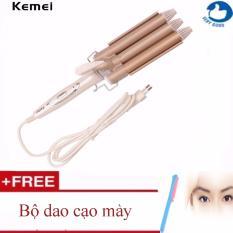 Máy uốn tóc 3 trục cao cấp Kemei 1010 + Tặng bộ dao cạo tỉa lông mày