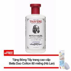 Nước hoa hồng không cồn hương Lavender THAYERS® Alcohol-Free Lavender Witch Hazel Toner 355ml (Dành cho da mụn) + Tặng Bông tẩy trang cao cấp Bella Duo Cotton 80 miếng