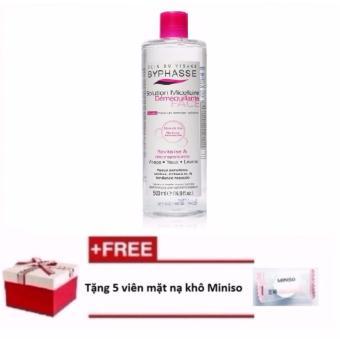 Nước tẩy trang Byphasse Micellar Make-up Remover Solution 500ml + Tặng 5 viên mặt nạ khô Miniso