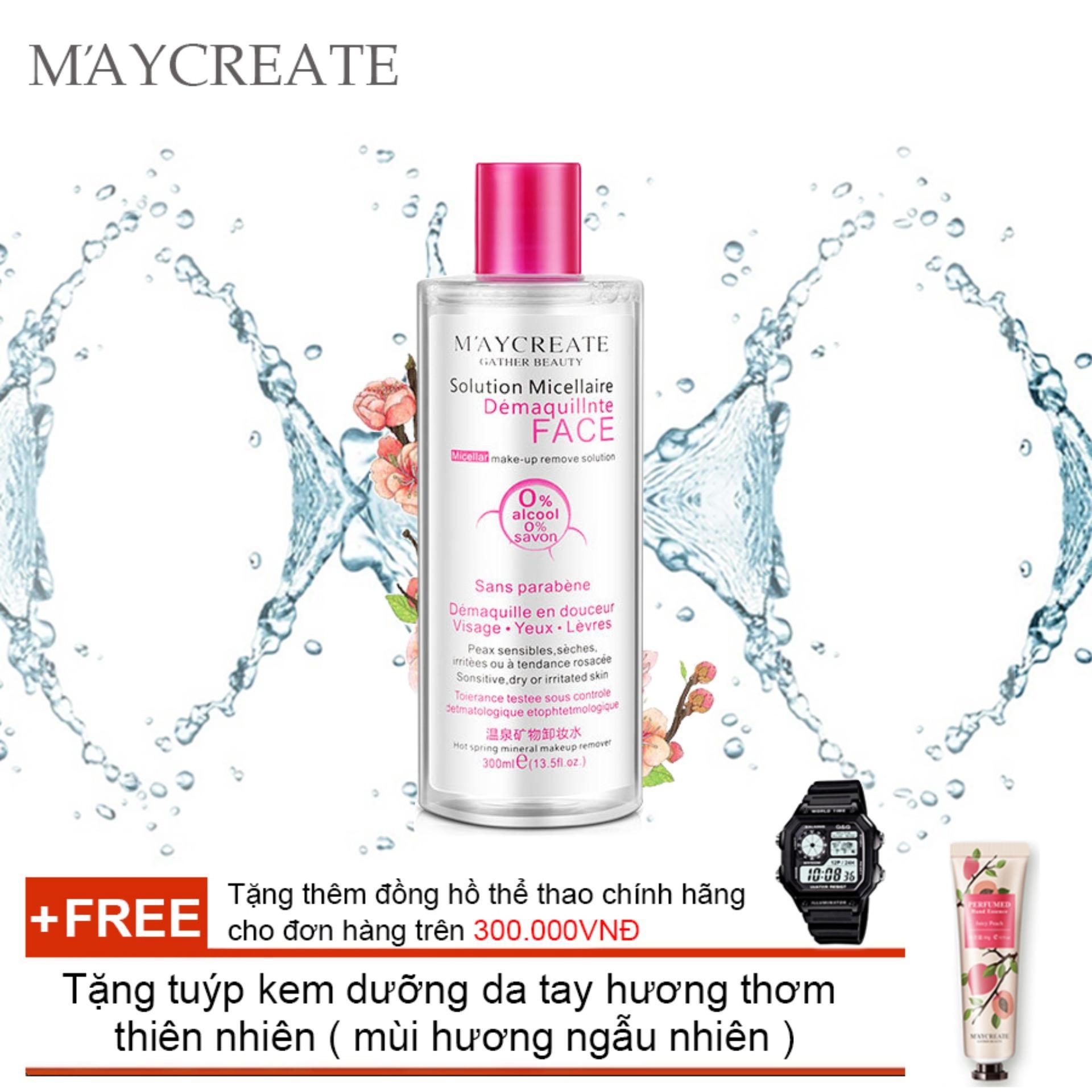 Nước tẩy trang Maycreate 300ml auth + Tặng tuýp kem dưỡng da tay hương thơm thiên nhiên ( mùi hương ngẫu nhiên )