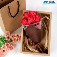 Đóa Hoa Xà Phòng Thơm Love Hộp Có Túi Trang Trọng (Màu Đỏ) US05211