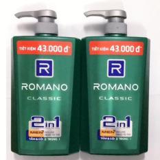 (Quà)Combo 2 chai tắm gội Cao cấp Romano Classic(650ml/chai)tặng 5 gói dầu gội Romano Classic