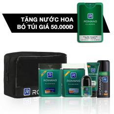 Romano Đẳng Cấp Phái Mạnh, gồm: Combo travel kit + Xịt Ngăn Mùi Classic 150ml + tặng kèm Nước Hoa Classic 18ml