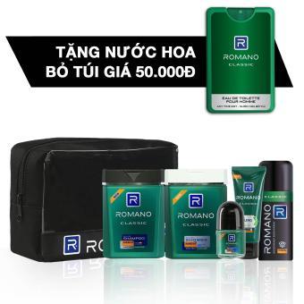Romano Đẳng Cấp Phái Mạnh, gồm: Combo travel kit + Xịt Ngăn Mùi Classic 150ml + tặng kèm Nước Hoa...