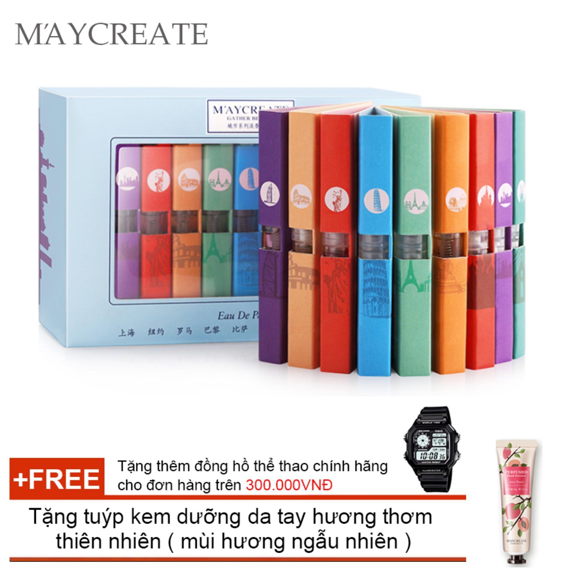 Set Nước Hoa Quà Tặng 9 Chai MayCreate - 3ml/chai + Tặng tuýp kem dưỡng da tay hương thơm thiên...