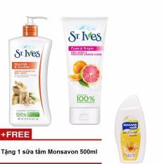 Hộp quà tặng St.Ives 1 sữa dưỡng thể St.Ives Yến Mạch Và Bơ Shea 621ml + 1 sữa rửa mặt Tẩy Tế Bào Chết St.Ives Cam Chanh 170g + tặng 1 sữa tắm Monsavon 500ml