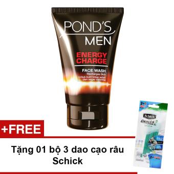 Sữa rửa mặt Pond's Men nạp năng lượng 100g + Tặng bộ 3 dao cạo râu